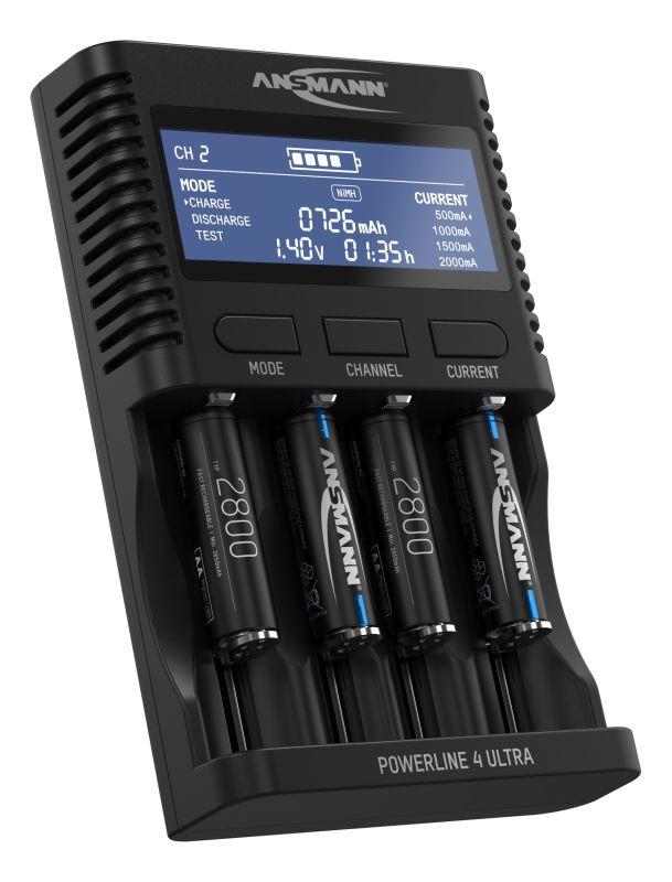 Ansmann Akku-Ladegerät für AA/AAA/C/D NiMH Akkus & Li-Ion 18650/26650 Batterieladegerät mit 4 Ladeprogrammen