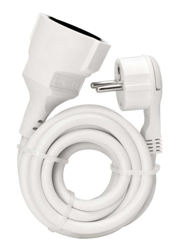 Schutzkontakt-Verlängerung  Kunststoff IP20 5m Kabel weiß