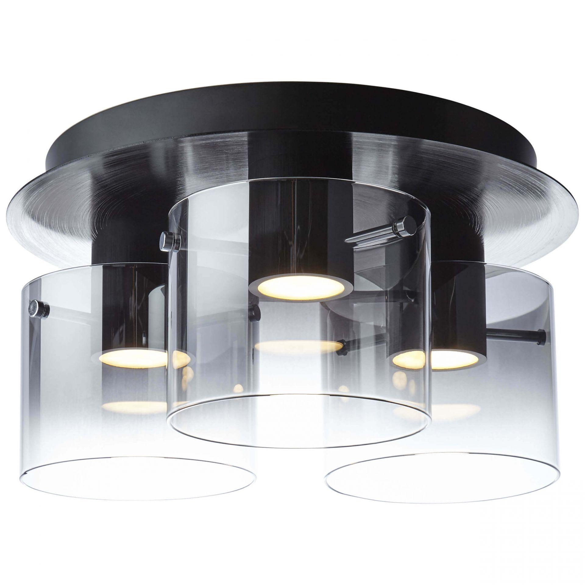 Brilliant G90866/93 Hobey Deckenleuchte, 3-flammig Glas/Metall schwarz/rauchglas