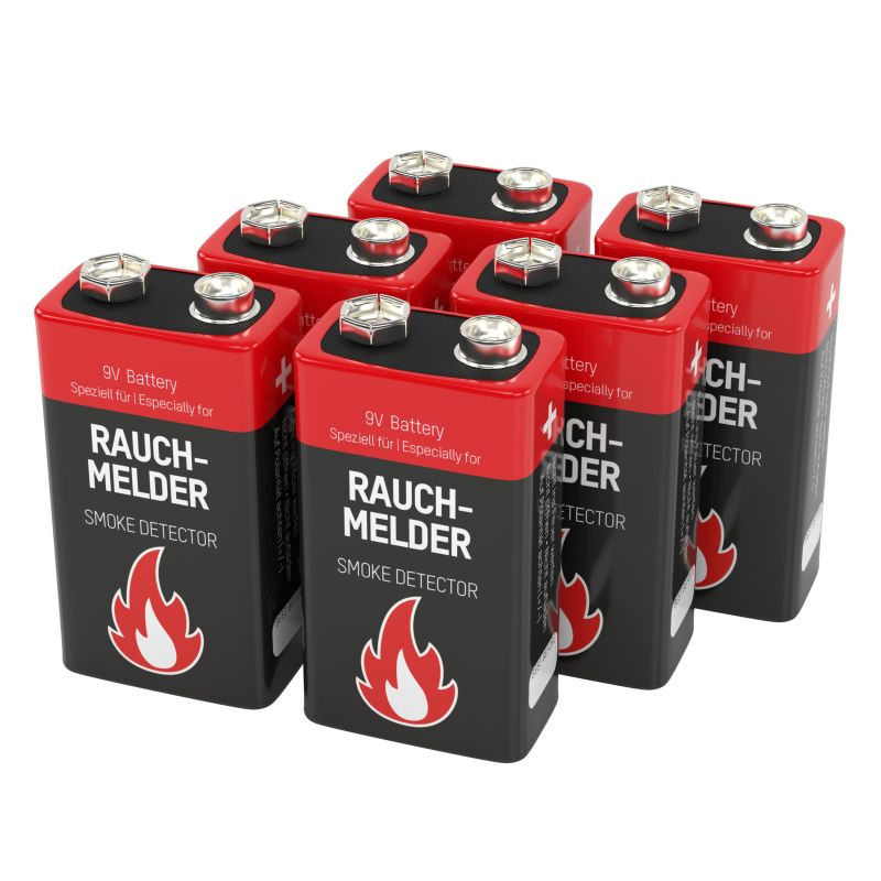 Ansmann 6 Alkaline longlife Rauchmelder 9V Block Batterien