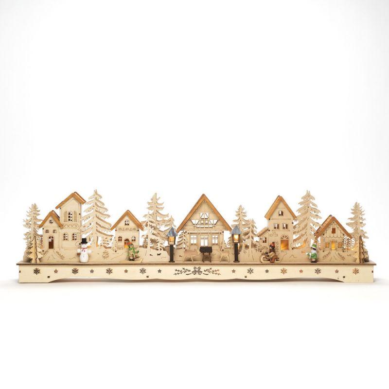 3250-100 LED Holzsilhouette Dorf