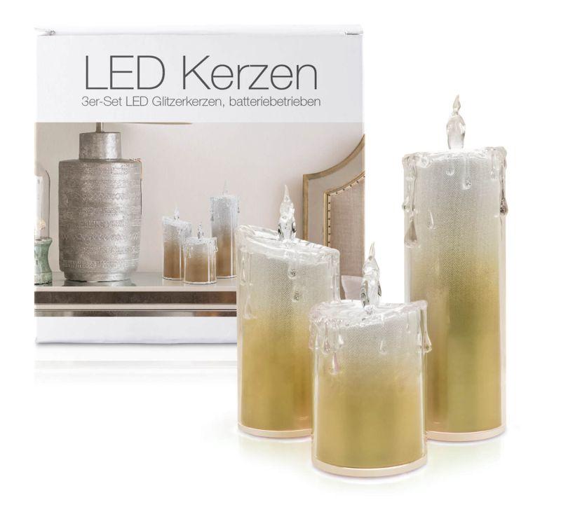 """LED Acryl Glitzer Kerze Gold 3er Set """"Liza"""""""