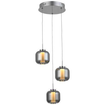 G99258/93 Rafa Pendelleuchte, 3-flammig (Rondell) Metall/Glas/Kunststoff chrom/rauchglas