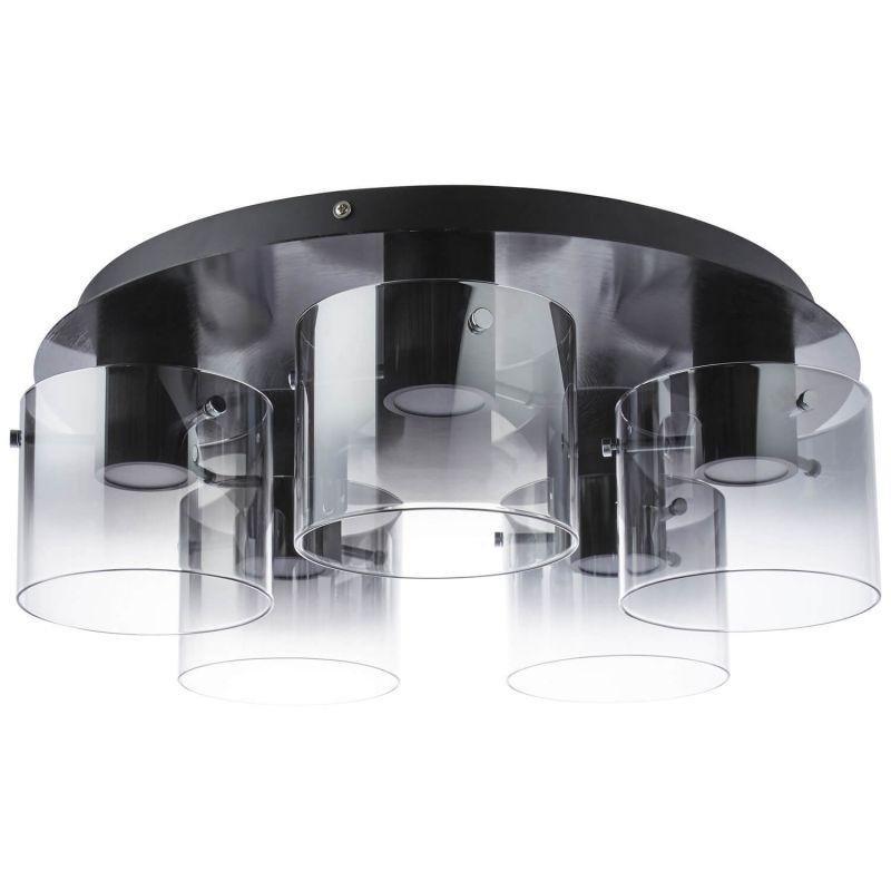 Brilliant G90867/93 Hobey Deckenleuchte, 5-flammig Glas/Metall schwarz/rauchglas