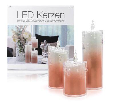 """LED Acryl Glitzer Kerze Rot 3er Set """"Liza"""""""