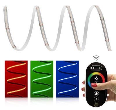 Premium 24V RGB COB LED Streifen IP20 Funk-Set schwarz & Netzteil 3m